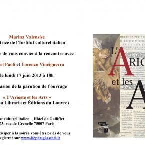 L'Arioste et les Arts. Rencontre avec Michel Paoli et Lorenzo Vinciguerra à l'Institut culturel italien de Paris